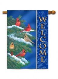 Outdoor Decorative House Flag - Cardinal Welcome