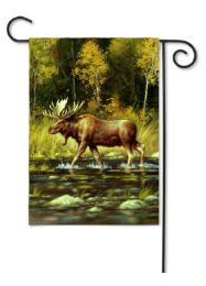 Outdoor Decorative Garden Flag - Wading Moose