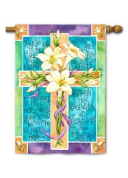 Outdoor Decorative House Flag - Easter Cross