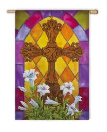 Easter Cross Spring Holiday Standard House Flag