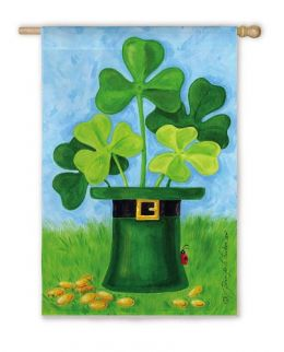 Outdoor Decorative House Flag - Shamrock Hat