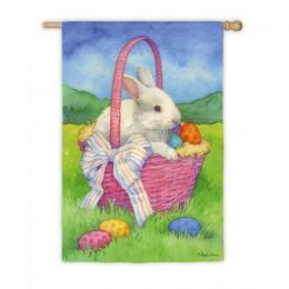 Bunny in a Basket Spring Easter Garden Flag
