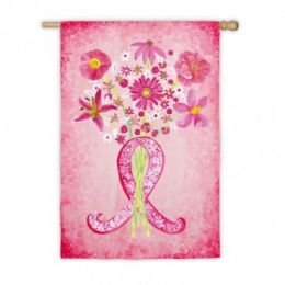 Pink Ribbon Cancer Spring Flowers Seasonal Garden Flag