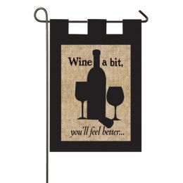 Burlap Wine A Bit Decorative Outdoor Garden Flag