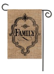 Outdoor Decorative Burlap Garden Flag - Family