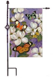 Oriental Dogwood & Butterflies Animals Outdoor Garden Flag