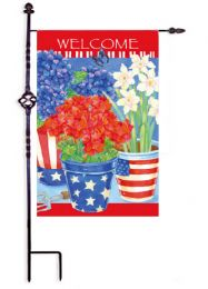 Patriotic Floral Welcome Red White & Blue Garden Flag