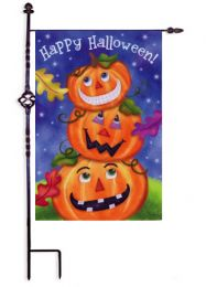 Stack of Pumpkins Happy Halloween Garden Flag