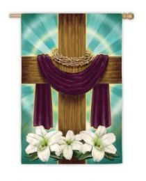 Draped Cross Easter Holiday Standard House Flag
