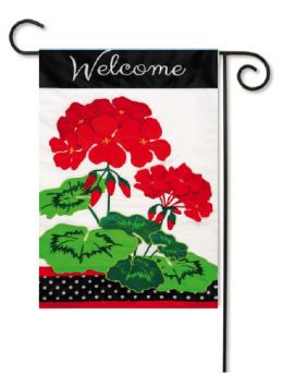 Outdoor Decorative Garden Flag - Welcome Geraniuims