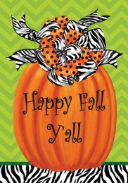 Zebra Pumpkin Happy Fall Seasonal SolarSilk Garden Flag