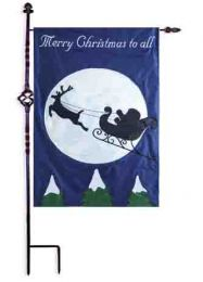 Light Up Santa's Sleigh Ride Outdoor Garden Flag