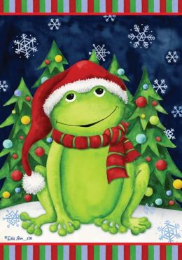 Christmas Frog Animal Holiday Winter Seasonal Garden Flag