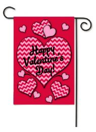 Outdoor Decorative Garden Flag - Chevron Valentine