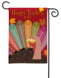 Happy Turkey Day Thanksgiving Fall Holiday Garden Flag
