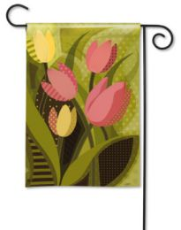 Tulips on Green Spring Seasonal Heavy Fabric Flower Garden Flag
