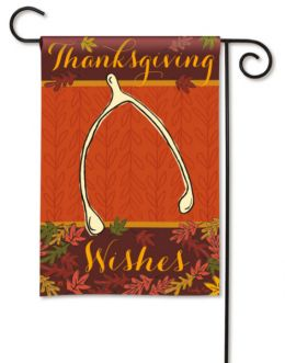 Thanksgiving Wishes Wishbone Holiday Garden Flag