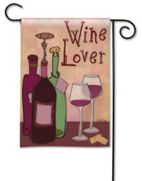 Wine Lover Solar Silk Breeze Art Wine Saying Garden Flag