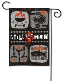 King of the Grill Grill Like A Man Outdoor Saying Garden Flag