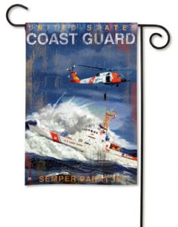 US Coast Guard Rescue  Chopper & Cruiser Military Garden Flag