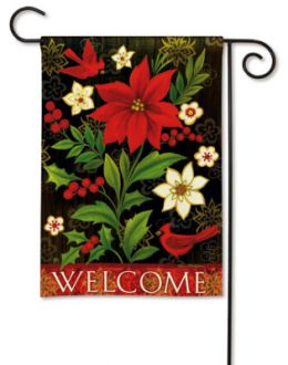 "Christmas Flora ""Welcome"" Holiday & Seasonal  Garden or House Flag"