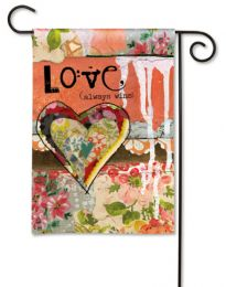 Love Always Wins Valentines Day Spring Holiday Garden Flag