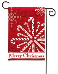 "Peppermint Snowflakes Winter ""Merry Christmas"" Garden Flag"