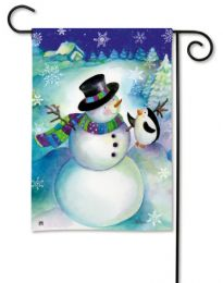 Snow Buddies Snowman & Penguin Winter Whimsical Garden Flag