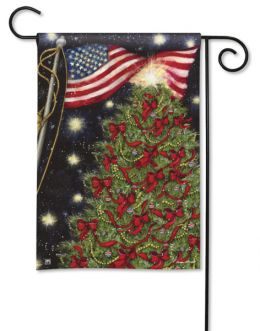 Patriotic Christmas Tree & Flag Winter Holiday Garden Flag