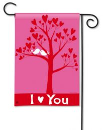 I Love You Valentines Day Doves in Tree Pink Garden Flag