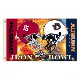 Alabama vs Auburn 3' x 5' Helmet House Divided Flag w/Grommets