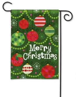 Merry Christmas & Ornaments Winter Holiday Outdoor Garden Flag