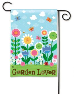 Garden Lover Pastel Flowers BreezeArt Sayings Garden Flag