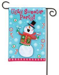 """Ugly Sweater Party"" Outdoor Snowman Funny Garden Flag"