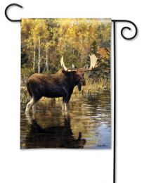 Majestic Moose in Lake Outdoor Premium SolarSilk Garden Flag