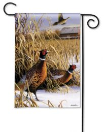 Pheasant Winter Meadow Outdoor BreezeArt Garden Flag