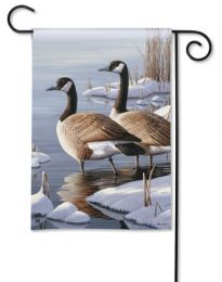Geese in Winter Lake Premium BreezeArt Animal Garden Flag