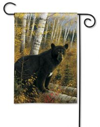 Black Bear in Woods Fall Animal BreezeArt Premium Garden Flag