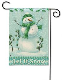 "Winter Wonderland ""Let it Snow"" Snowman SolarSilk Garden Flag"