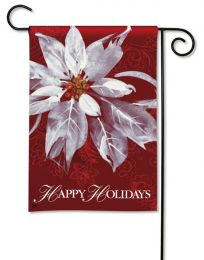 White Poinsettia Winter Holiday Outdoor Premium Garden Flag