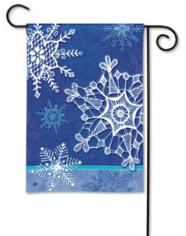 Seasonal Winter Crystal Snowflakes SolarSilk Outdoor Garden Flag