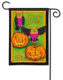 Trick or Treat Halloween Fall Owls & Pumpkins Garden Flag