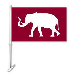 Alabama Crimson Tide Elephant Car Flag w/Wall Brackett