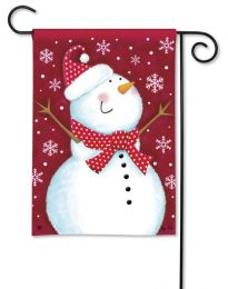 Red Snowman & Snowflakes Winter Seasonal Garden Flag