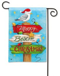 Merry Christmas & Beach Winter Holiday BreezeArt Garden Flag