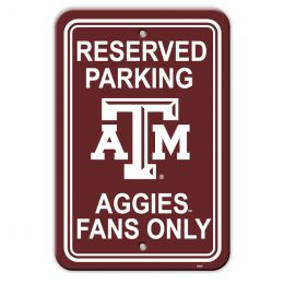 "Texas A&M Aggies 12"" X 18"" Plastic Parking Sign College Team Logo"