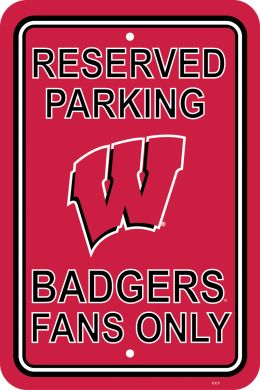 "Wisconsin Badgers 12"" X 18"" School Logo Plastic Parking Sign"