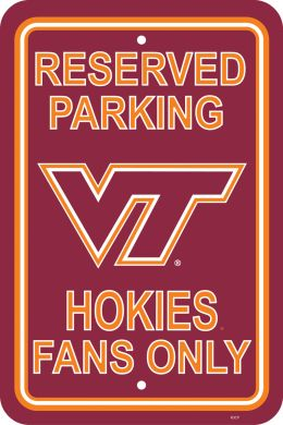 "Virginia Tech Hokies 12"" X 18"" Plastic Parking Sign College Team Logo"