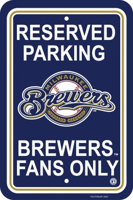 Milwaukee Brewers Plastic Parking Sign MLB Team Logo Blue & Gold