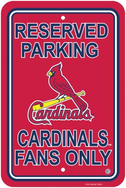 St. Louis Cardinals Plastic Parking Sign MLB Team Logo Blue & Red